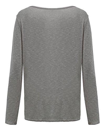 ZANZEA Femmes Automne Casual Vrac Lâche Chemise Manches Longues Coton T-shirt Top Blouse Pull Shirt Gris B