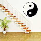 zxddzl Chinesische Kung Fu Tai Chi Yin Yang Symbol WANDKUNST-Aufkleber Vinyl Aufkleber Schwarz Aufkleber Wandtapete Wandbild 57 * 57cm
