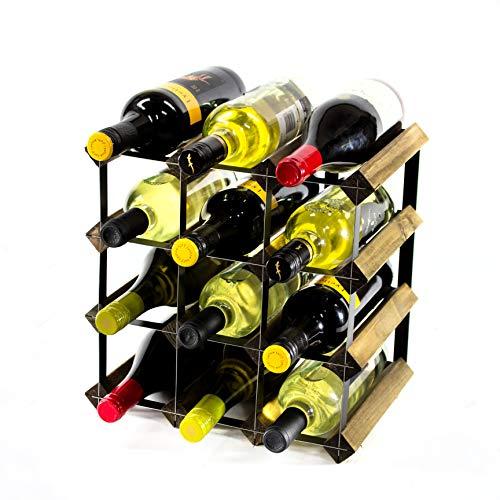 Klassische 12 Flaschen Nussbaum gebeizt Holz und Schwarzem Metall Weinregal fertig montiert -