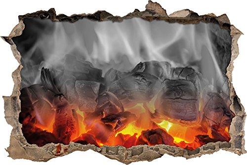 Brennende Holzkohle (Pixxprint 3D_WD_5096_62x42 brennende Holzkohle in Kamin Wanddurchbruch 3D Wandtattoo, Vinyl, schwarz/weiß, 62 x 42 x 0,02 cm)