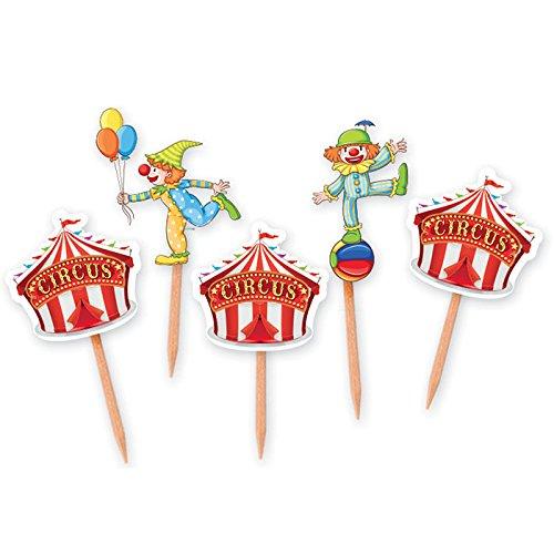 Big Party Dimav s.r.l. Verpackung von 25 Zahnstochern Fürchtet Zirkus, Ideal Für Parteien zu Thema und Geburtstag-Kindern.