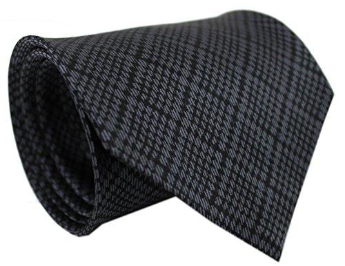 Krawatte Seidenkrawatte aus 100% Seide grau schwarz kariert R-144 (Schwarz Geometrische Seidenkrawatte)