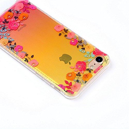 iPhone 7 Custodia Diamante Bling,iPhone 7 Cover in Silicone,Etsue 2017 Neo Disegni Donna Ragazza Cristallo Bling Scintillante Diamante Bella Elegante Romantico Stella Modello Trasparente Flessibile Tp Rose Floreale