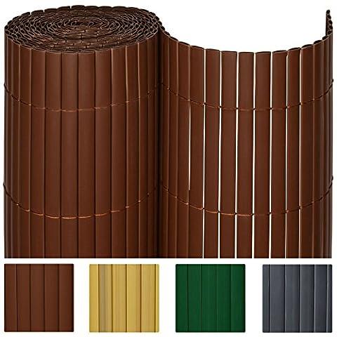 SolVision Canisse en PVC Haie Brise-vue Jardin Terrasse Balcon Protection Regards Vent Soleil 120x300cm - Marron