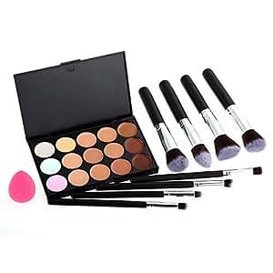 Vktech® 15 Couleurs de Palette de Maquillage Cosmétique / Anti-cerne et Fond de Teint + 8PCS Pinceaux Maquillage + Houppe à Poudre - pour Salon Professionnel, Mariage, Fête, Utilisation à Domicile etc.
