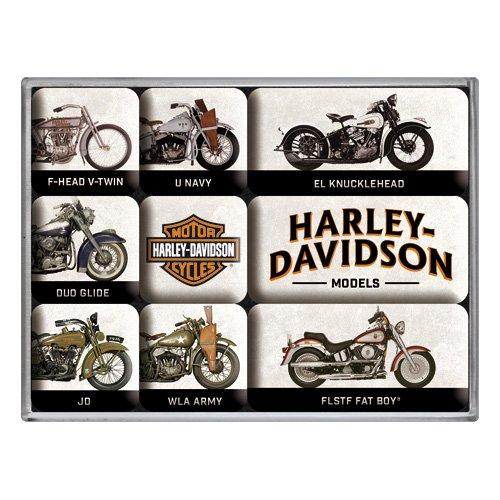 Nostalgic-Art de Harley Davidson de Model Chart, frigorífico Imanes,  Vintage Retro Set, 9 piezas, plástico, multicolor, 7 x 9 3 x 2 cm