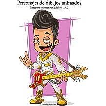 Personajes de dibujos animados libro para colorear para adultos 1 & 2