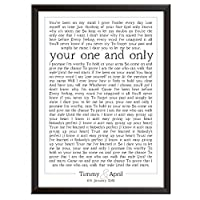 PERSONALISED Song Lyrics Wall Art Print - ANY SONG - Gift idea for wedding, first dance, anniversary, birthday, Christmas. Couples, husband, wife. Framed poster/picture only (box design)