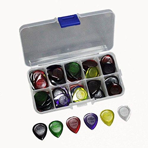 40pcs Durable transparente guitarra acústica eléctrica Picks púas), 1.02.03.0mm + Funda