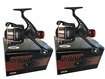 2 x CKR30 Black Fishing Reels Loaded with 6LB Line For Coarse Match Lake River from NGT