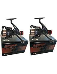 CKR30 - Carretes de pesca cargados con sedal 8LB para competiciones de pesca en lago y río, 2 unidades, color negro