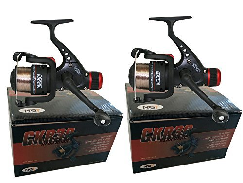 2-x-ckr30-black-fishing-reels-loaded-with-6lb-line-for-coarse-match-lake-river