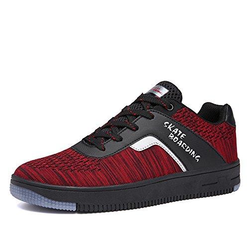 Herren Damen Sneaker Schnür Schuhe Laufschuhe Skateboardschuhe Wanderschuhe Schwarz Rot Weiß Rot