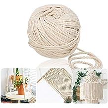 Jeteven 60m Cuerda cordón Algodón Macramé Hilo DIY Craft Cordón Carrete para ...