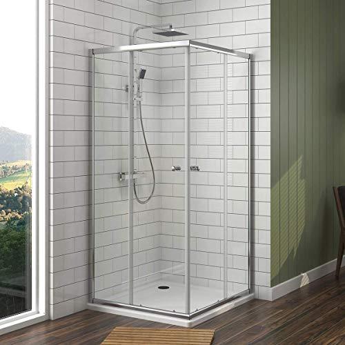 Duschkabine 90x100x185cm Eckeinstieg Duschabtrennung NANO Glas Schiebetür Duschtür
