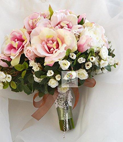 Yxhflo Emulation Blume Blumen Hochzeit Braut Kunst Hand Blumensträuße Pigment Farbe Rosen Retro Idyllischen Graue Pappteller Und Servietten