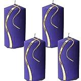 Weihnachten Kerzenset 4 StückStumpenkerzen Adventskerzen 100x50 Dekokerzen Kerzen für Adventskranz lila Gold andere Farben möglich IW6