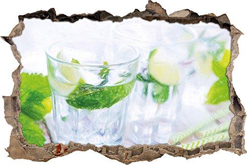 Mojito-Gläser mit Minze Kunst Buntstift Effekt Wanddurchbruch im 3D-Look, Wand- oder Türaufkleber...