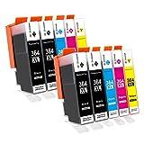 GPC Image Cartouche d'encre 364XL (pack de 10) compatible pour HP 364 364-XL pour HP Photosmart 5510 5520 5522 5520 6520 B8550 C5388 7510 7520 5524 6510 5515, HP Officejet 4620, HP Deskjet 3070A