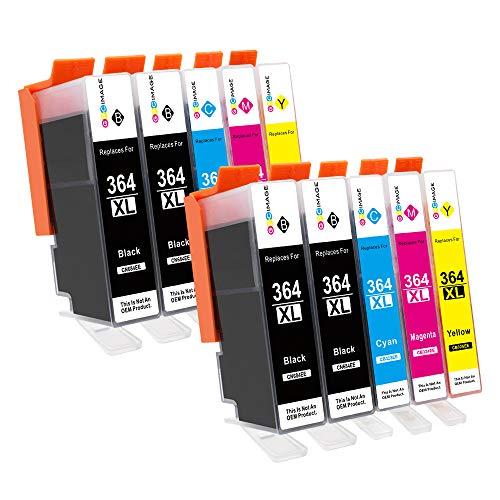 GPC Image 364XL (10er Pack) kompatible Tintenpatronen für HP 364 364-XL für HP Photosmart 5510 5520 5522 5520 6520 B8550 C5388 7510 7520 5524 6510 5515,HP Officejet 4620,HP Deskjet 3070A(4B/2C/2M/2Y)