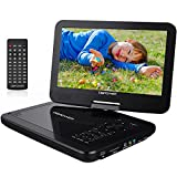 """DBPOWER� 10.5"""" Portable DVD Player, 5 Hour Rechargeable Battery, Swivel Screen, Supports SD Card and USB, Direct Play in Formats AVI/RMVB/MP3/JPEG (10.5, Black)"""