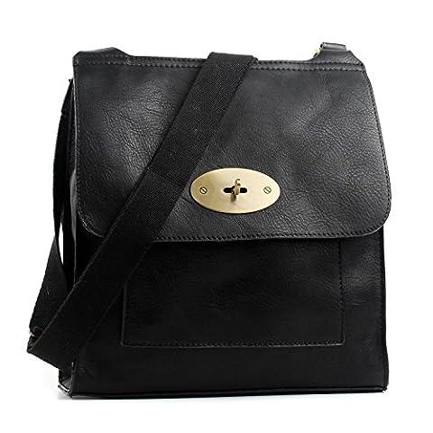 Aossta Faux Leather Large / Medium Twist Lock Cross Body Messenger Bag Turnlock Shoulder Bag (6172 Large,