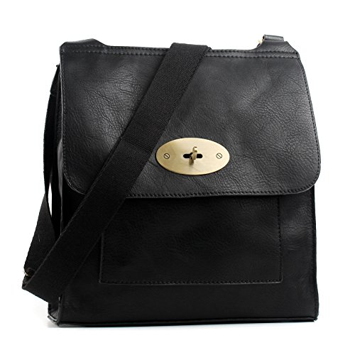 Aossta Faux Leather Large / Medium Twist Lock Cross Body Messenger Bag Turnlock Shoulder Bag (6172 Large, Black)
