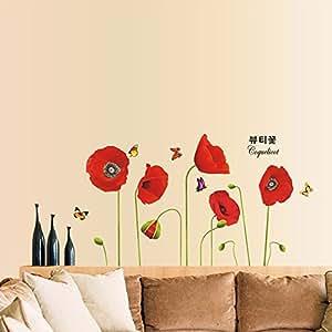 Anself Bright Red Papavero Belle DIY Wallpaper Art Decor Wall Stickers murale camera decalcomania