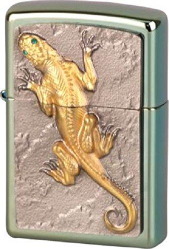 Zippo 16274 Golden Lizard with Green Eyes - Limited Edition, Chameleon Feuerzeug, Chrom/Silber