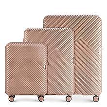 Stabiler Reisekoffer Koffer-Set Trolley von Wittchen Material polycarbonat 8 Lenkrollen Zahlenschloss 10,2KG Farbe Rosa