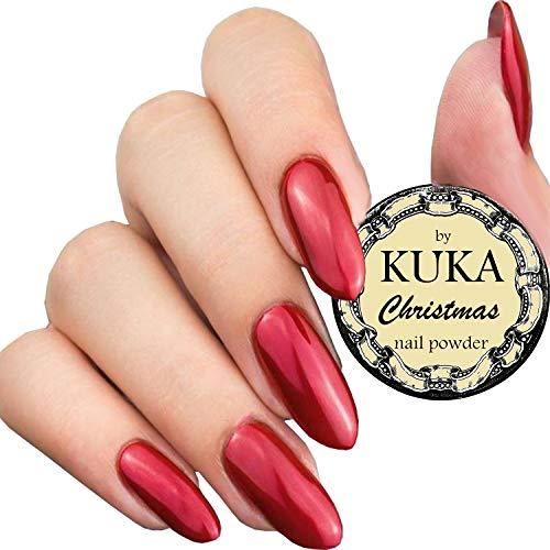 Kuka Rouge Miroir Effet métallique Chrome à ongles Poudre paillettes en brillant à ongles poussière Pigment Nail Art