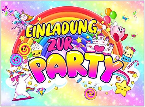 12x EINLADUNGSKARTEN für PARTY und KINDERGEBURTSTAG - die Karten im frech bunten EINHORN Design sind die perfekte EINLADUNG für Mädchen Jungen Kinder zum GEBURTSTAG Einschulung und KINDERPARTY