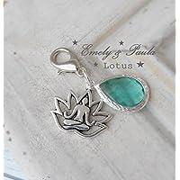 Anhänger Lotusblüte Yoga Meditation Lotussitz Kristalltropfen türkis Charm Karabiner