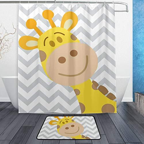 AdaCrazy Giraffe Chevron Hintergrundmuster Duschvorhang Set 3D-Druck Wasserdicht beschichtetes Polyestergewebe Bad mit 12 Haken 71 Zoll Indoor Bodenmatte Badteppiche 60x40cm