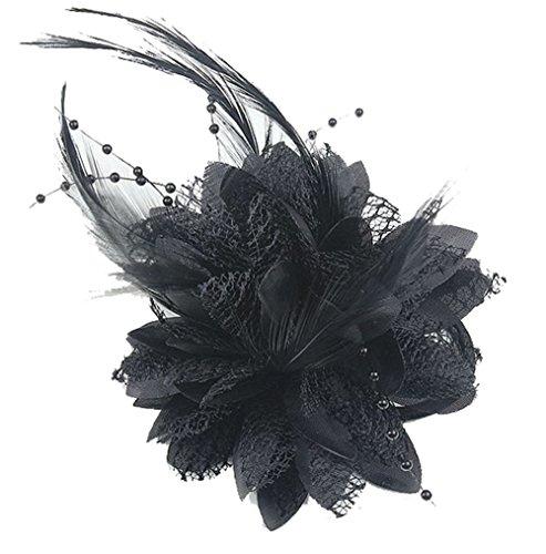 Cheerlife Elegante Damen Accessoires Haarblumen Haarblüte Haarspange Haarschmuck Broschen Ansteckblume viele Farben Schwarz