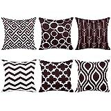 Topfinel 6er Set Kissenbezüge 45x45 cm Qualitäts Kissenhüllen in Segeltuch mit Geometrischen Mustern für Sofa Auto Terrasse Zierkissenbezüge Pfeil Dunkelbraun und Weiß