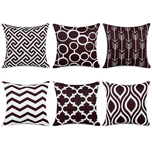 Topfinel 6er Set Kissenbezüge 45x45 cm Qualitäts Kissenhüllen in Segeltuch mit Geometrischen Mustern für Sofa Auto Terrasse Zierkissenbezüge Pfeil Dunkelbraun und Weiß -