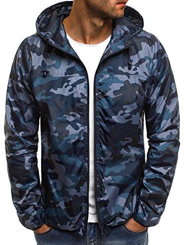 OZONEE Mix Herren Jacke Übergangsjacke Frühlingsjacke Kapuzenjacke Camouflage Sportjacke Motiv Windjacke RF/192 DUNKELBLAU M