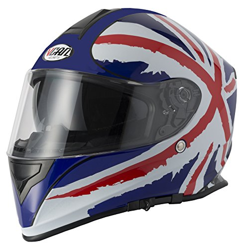 V-CAN New Britain Union Jack Britische Flagge Patriotische Motor Bike Cycle Full Face Leichtes Dual Visor Helm und Gitter Sturmhaube - Race-flaggen-shirt
