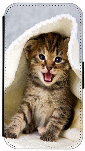 Flip Cover für Apple iPhone 6 / 6S (4,7 Zoll) Design 442 Katze auf Rücken Braun Blau Hülle aus Kunst-Leder Handytasche Etui Schutzhülle Case Wallet Buchflip mit Bild (442) 445