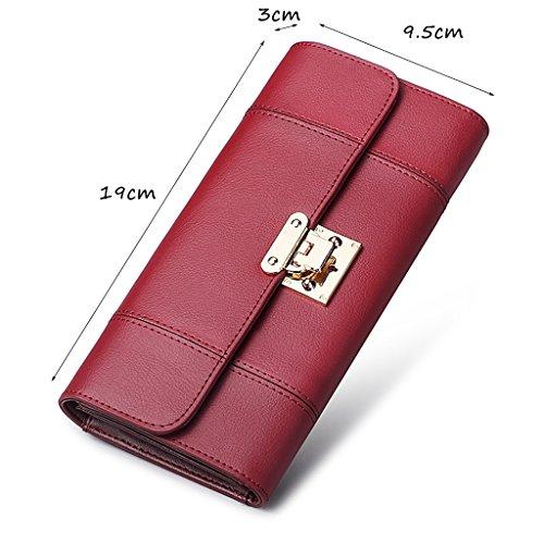 CLOTHES- Lady Wallet Europe e il portafoglio multifunzionale del sacchetto di mano del raccoglitore del cuoio lungo degli Stati Uniti ( Colore : Grigio ) Rosso