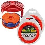 Spares2go Dual Trimmerfaden Spule + Abdeckkappe Kit für Qualcast GT25 GGT3503 GGT350A1 Trimmer (+ 30 m Nachfüll)