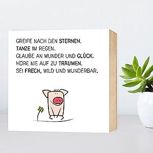 Glück-Schwein - Greife nach den Sternen... - einzigartiges Holzbild 15x15x2cm zum Hinstellen und Aufhängen, echter...