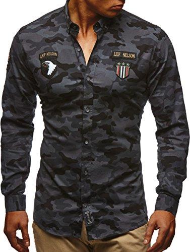 LEIF NELSON Herren Hemd Trend Camouflage Langarm Kurzarm Freizeit Army Anthrazit