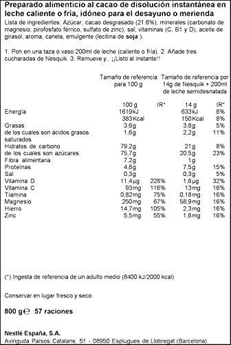 Nesquik - Cacao Soluble Instantáneo - 3 Paquetes de 800 g 9.02€