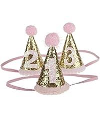 ARAUS Sombrero de cumpleaños para Baby Girl Child Pink Diadema Accesorios para el cabello Fotografía 0-4 años 3 piezas