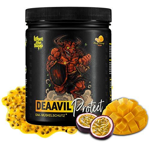 EAA Essentielle Aminosäuren hochdosiert | 600g Pulver | 30 Portionen | + Anti Erschöpfungsformel | MEGA Geschmack (Mango-Maracuja) I TOP Löslichkeit | BCAA 2.0 | WHAT THE SUPP ®- DEAAVIL Protect