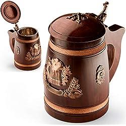 Jarra de cerveza de madera con tapa - Grande y resistente - Hecha a mano a partir de roble sólido - La taza está cubierta internamente con una inserción de acero inoxidable - 500 ml (17 oz) – Excelente regalo para los amantes de la cerveza