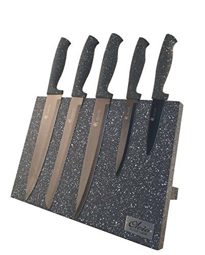 Magnetisches Messerbrett - Holz Messerblock mit Marmorbeschichtung, mit 5tlg Messer Set