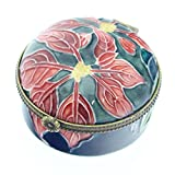 Old Tupton Ware - Poinsettia Design, 2 inch hinged round trinket box